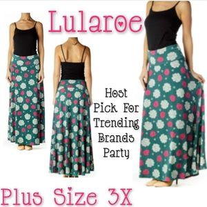 Lularoe Maxi Skirt Plus Size 3X Olive Floral Skirt